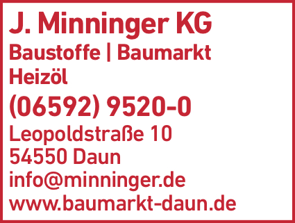 Anzeige J. Minninger KG Baumarkt & Baustoffe