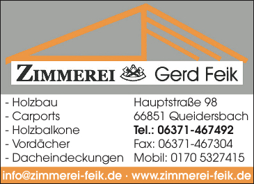 Anzeige Feik Gerd Zimmerei & Holzbau