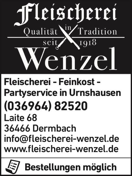 Anzeige Fleischerei Wenzel Partyservice, Feinkost